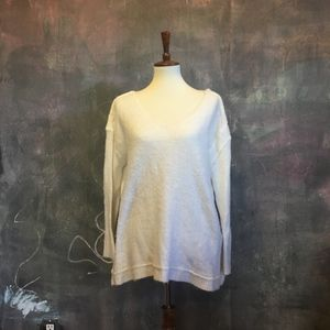 Free People Cream V-Neck Sweater